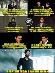 Happy Birthday Shahrukh Khan Status Images Motivational