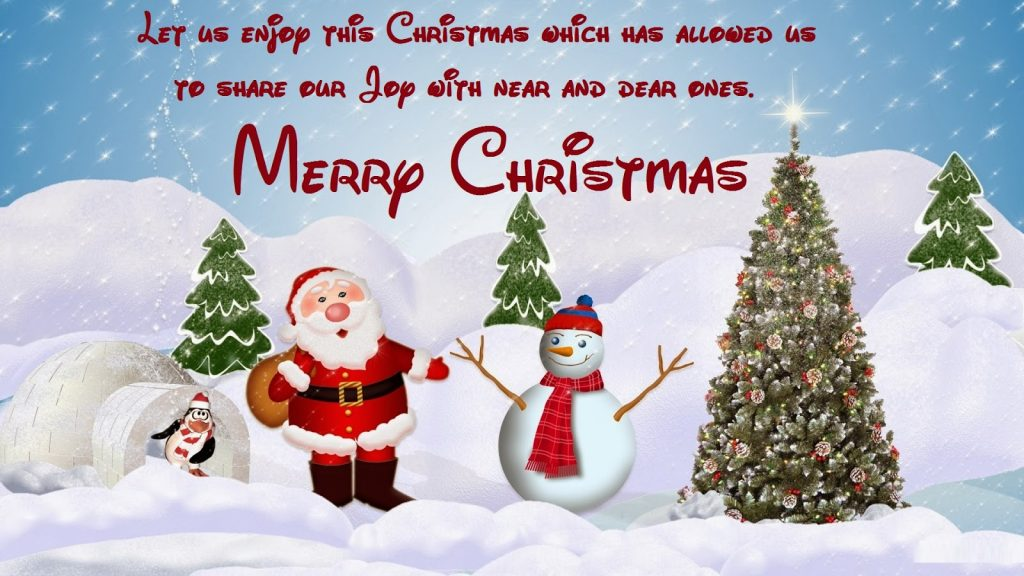 Enjoy Merry Christmas Wishes With Santa And Snowman Winter