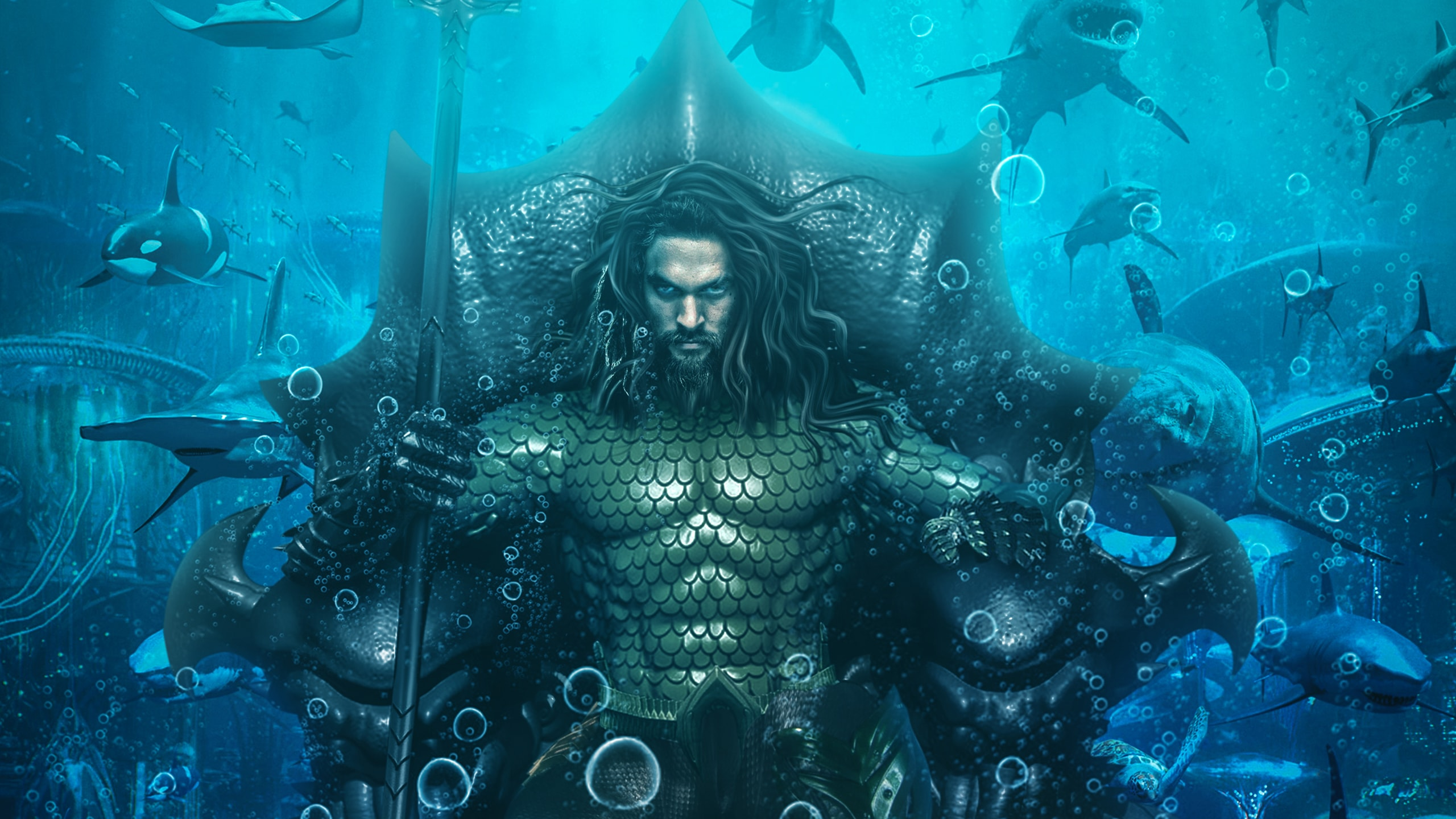 King Jason Momoa Aquaman Movie Wallpaper Background Min